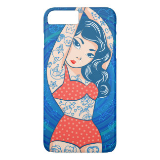 sweet cartoon bikini tatoo girl red iPhone 7 plus case