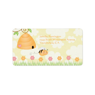 Sweet cartoon bumble bee baby shower address label