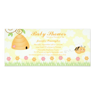 Sweet cartoon bumble bee baby shower invitation