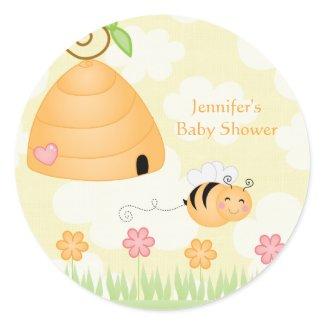 Sweet cartoon bumble bee baby shower sticker sticker