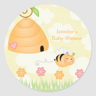 Sweet cartoon bumble bee baby shower sticker