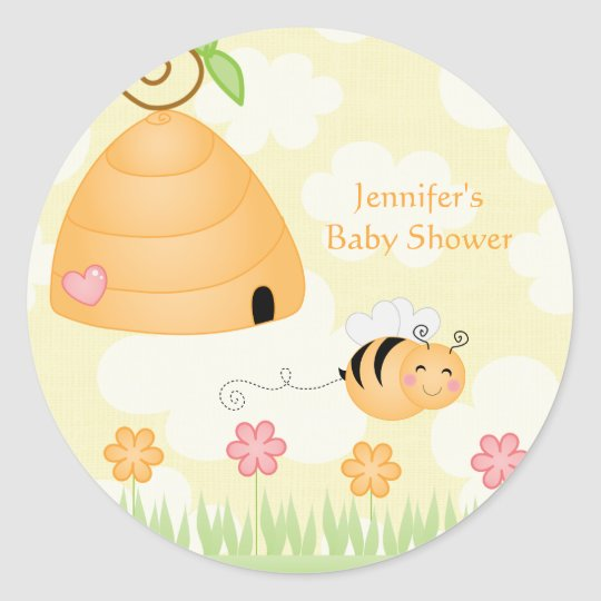 Sweet Cartoon Bumble Bee Baby Shower Sticker Zazzle Com