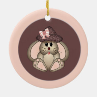 Sweet Cartoon Bunny Wearing A Hat Ceramic Ornament
