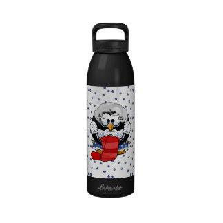 Sweet Cartoon Grandma Penguin with Flower Pattern Reusable Water Bottle