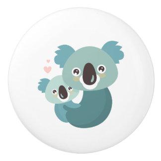 Sweet cartoon koala mother and baby hugging ceramic knob