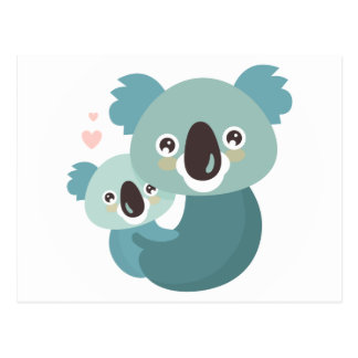 Sweet cartoon koala mother and baby hugging postcard