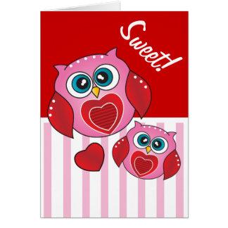 Sweet Cartoon Owls Greeting Card
