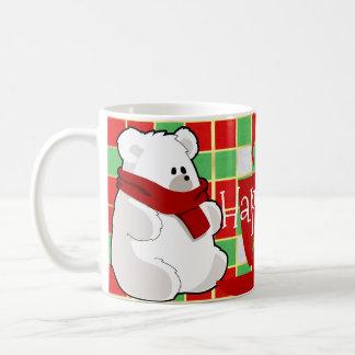 Sweet Cartoon Polar Bear In Red Scarf Coffee Mug