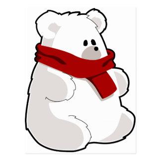 Sweet Cartoon Polar Bear In Red Scarf Postcard