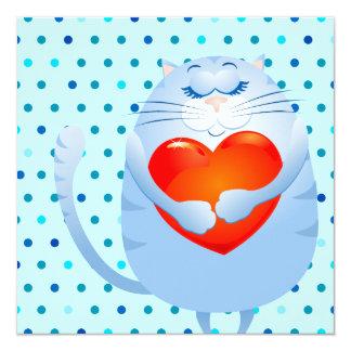Sweet cat in love, invitation
