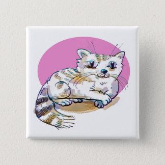 sweet cat lying down cartoon pinback button