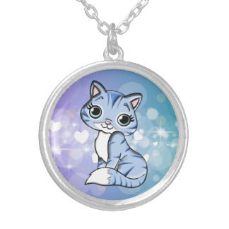 Sweet cat silver plated necklace