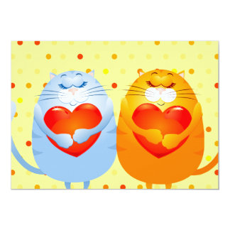Sweet cats in love, invitation