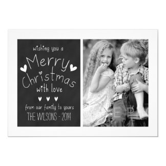 "SWEET CHALKBOARD   HOLIDAY PHOTO GREETING CARD 5"" X 7"" INVITATION CARD"