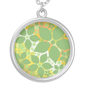 Sweet Charm Necklace, Summer Citrus Floral ☆ Silver Plated Necklace