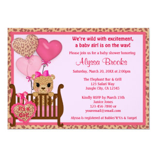 girls cheetah baby shower invitations  announcements  zazzle, Baby shower invitations