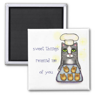 Sweet Chef Cat Baking 2 Inch Square Magnet