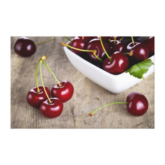 Sweet Cherries In Bowl On Table Background Stretched Canvas Prints