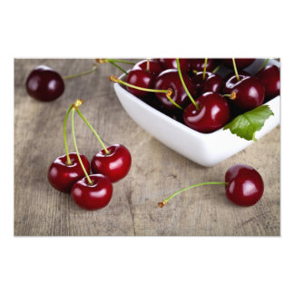 Sweet Cherries In Bowl On Table Background Photographic Print