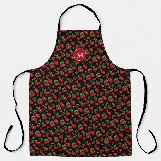Sweet cherries pattern monogrammed apron