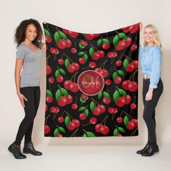 Sweet cherries pattern on black w name monogram fleece blanket