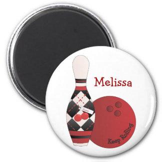 Sweet Cherry Argyle Bowling Design 2 Inch Round Magnet