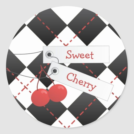 Sweet Cherry Argyle Classic Round Sticker