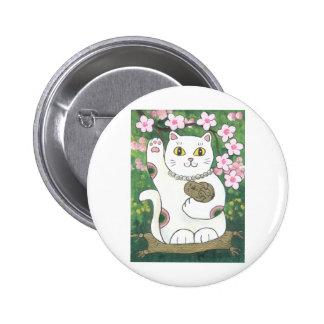 Sweet Cherry Blossom Neko 2 Inch Round Button