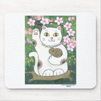Sweet Cherry Blossom Neko Mouse Pad