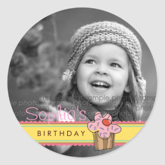 Sweet Cherry Cupcake Birthday Gift Label Sticker