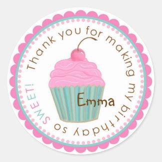 Sweet Cherry Cupcake  Birthday Stickers