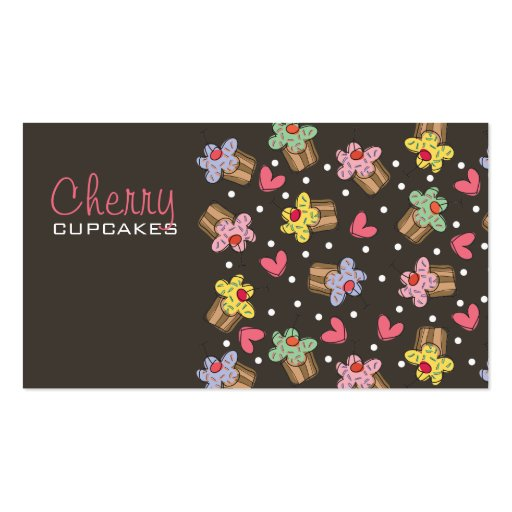 Sweet Cherry Cupcakes Bakery Dessert Profile Card Business Card