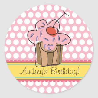 Sweet Cherry Cupcakes Birthday Gift Label Sticker