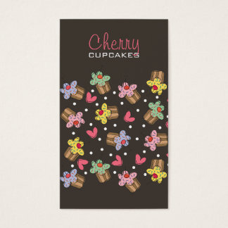 Sweet Cherry Cupcakes Confectionery Bakery Cute Business Card