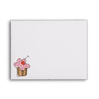 Sweet Cherry Cupcakes Confectionery Bakery Cute Envelopes