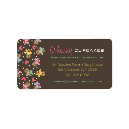 Sweet Cherry Cupcakes Confectionery Bakery Cute Custom Address Labels