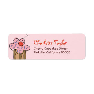 Sweet Cherry Cupcakes Confectionery Bakery Cute Custom Return Address Labels