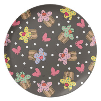 Sweet Cherry Cupcakes Confectionery Bakery Cute Melamine Plate