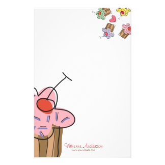Sweet Cherry Cupcakes Confectionery Bakery Cute Stationery
