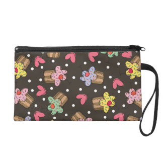 Sweet Cherry Cupcakes Confectionery Bakery Cute Wristlet
