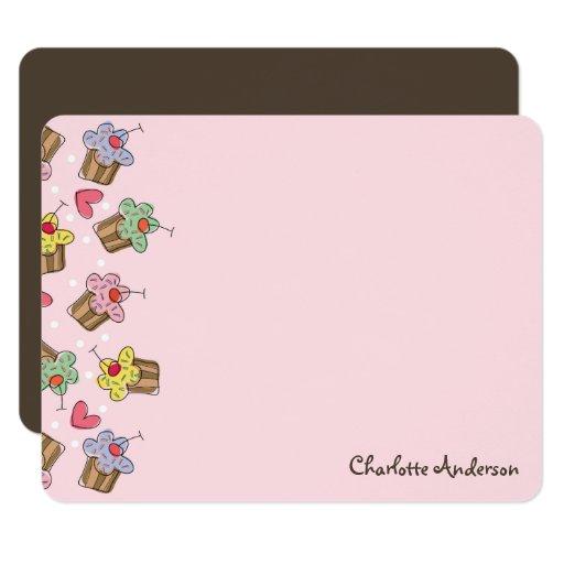 Sweet Cherry Cupcakes Girl Birthday Thank You Card