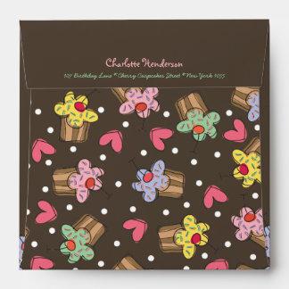 Sweet Cherry Cupcakes Girl Kids Birthday Envelope