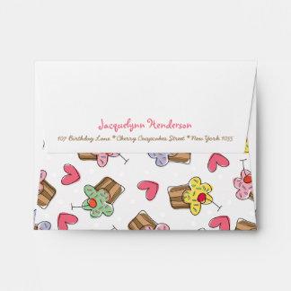 Sweet Cherry Cupcakes Kids Birthday Cute Envelope