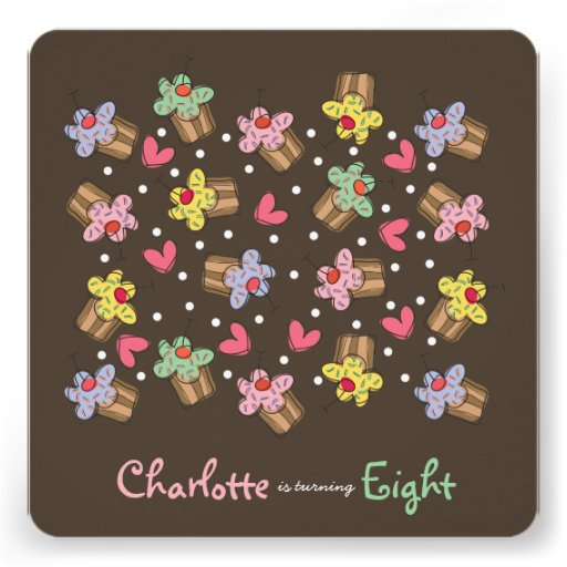 Sweet Cherry Cupcakes Kids Birthday Invitation Custom Announcement