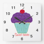 Sweet Cherry on Top Purple Frosting Cupcake Wall Clocks