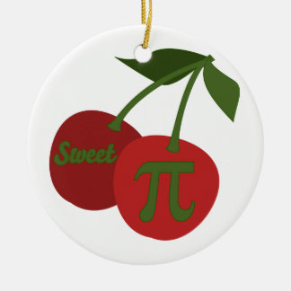 Sweet Cherry Pi Double-Sided Ceramic Round Christmas Ornament
