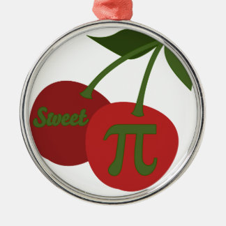 Sweet Cherry Pi Round Metal Christmas Ornament