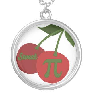 Sweet Cherry Pi Round Pendant Necklace