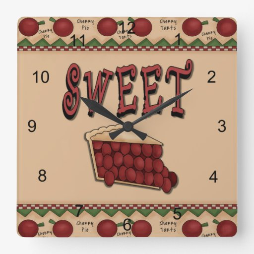 Sweet Cherry Pie Square Wall Clock