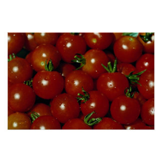 Sweet cherry tomatoes texture poster